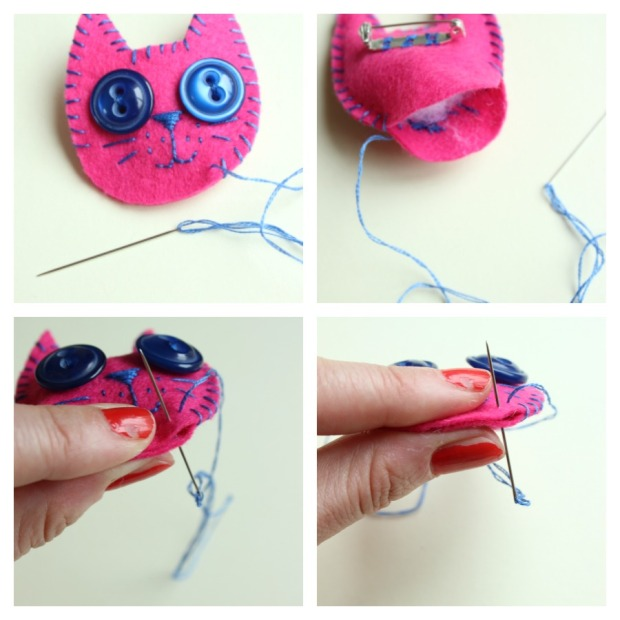 stitching together a kitty brooch