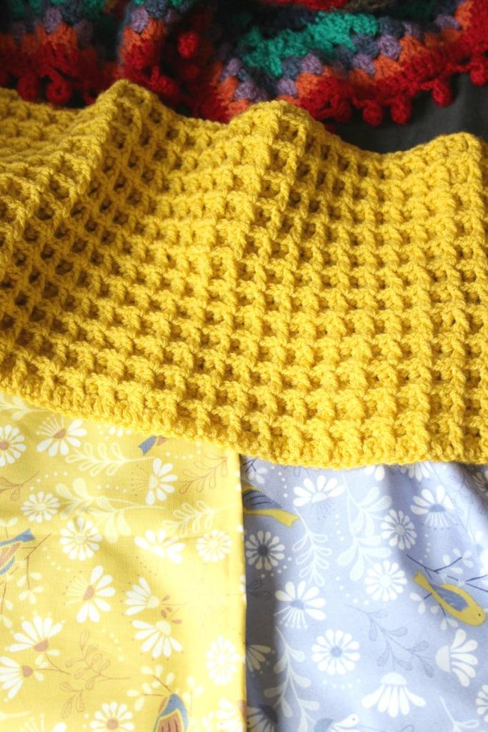 a crochet cushion. waffle stitch.